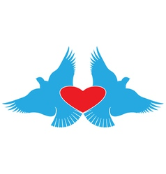 Heart and Birds valentines day symbol vector image vector image