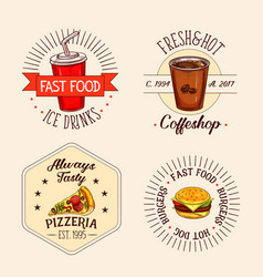 Icons of fast food drinks and snacks vector