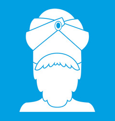 Indian man icon white vector