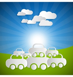 Landscape Background With Paper Cars and Clouds on vector image