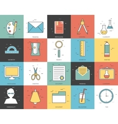Line icons set of office collection concept vector image vector image