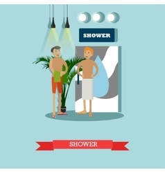 Men taking shower in fitness center concept vector