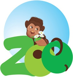 monkey with flowers vector image vector image