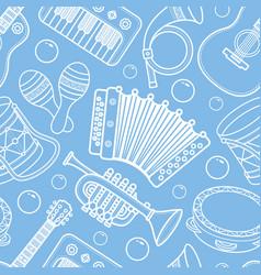 Musical instrument seamless monochrome pattern vector