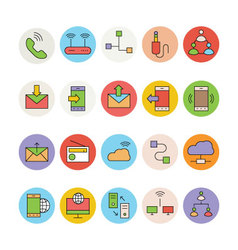 Networking and communication icons 3 vector