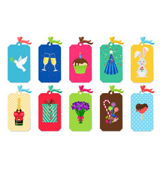 party colorful tags set vector image vector image