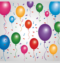 Poster multicolored balloons flying confetti vector