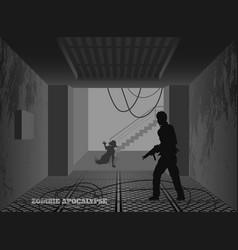 Poster zombie apocalypse silhouettes of gunmans vector