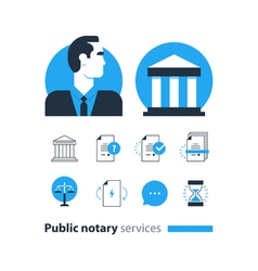 Public notary services icons set law firm man vector