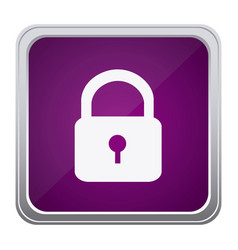purple emblem lock icon vector image
