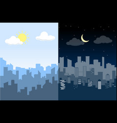 random blue city skyline difference between day vector image vector image