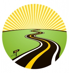 Road to solar horizon vector