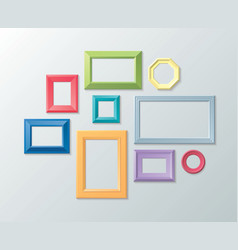 Set of color photo frames on the wall vector