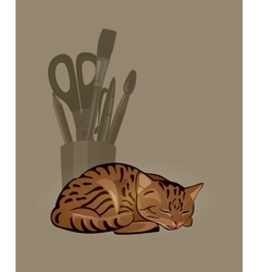 Sleeping striped cat and a bowl with stationery vector