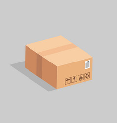the sealed cardboard box on a gray background vector image