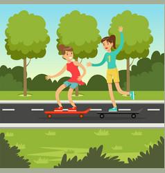 Two happy girlfriends skateboarding in the park vector