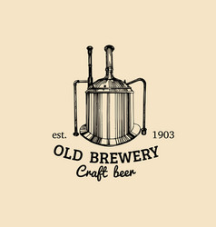 vintage old brewery logo kraft beer icon vector image