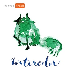 Watercolor cat vector image vector image