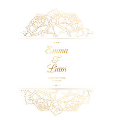 Wedding invitation card template rose flowers gold vector