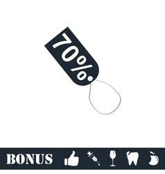 70 percent discount icon flat vector