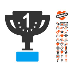 First prize cup icon with love bonus vector