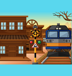 Train ride through western town vector