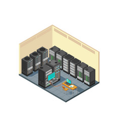 Isometric network server room with row of computer vector