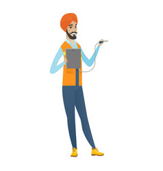 Young hindu electrician with electrical equipment vector