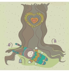 a child and tree vector image