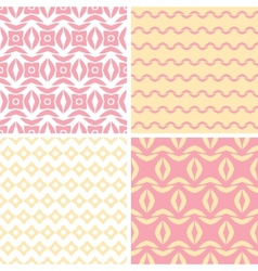 Four tribal pink and yellow abstract geometric vector