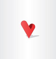 3d heart letter v logo design vector image