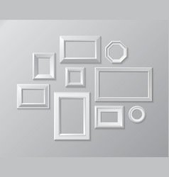 Set of white photo frames on the wall vector