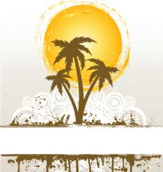 Grunge palm trees vector
