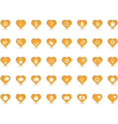 Orange heart icons vector