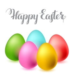 Happy easter greeting card with eggs concept can vector