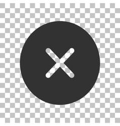 Cross sign  dark gray icon on vector