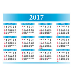 Calendar for 2017 in english with festivities vector
