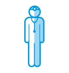 Blue shading silhouette pictogram male surgeon vector