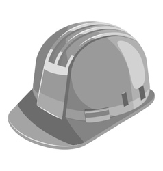 Construction helmet icon gray monochrome style vector