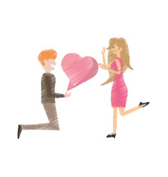 Drawing couple romantic proposal heart vector