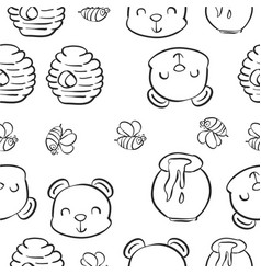 hand draw bear honey pattern style vector image