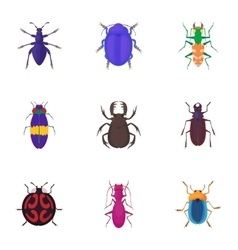 Insects beetles icons set cartoon style vector