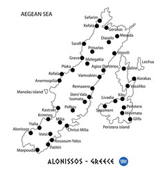 Island of alonissos in greece map on white vector