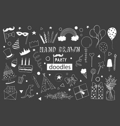 Kids party doodles with design elements vector