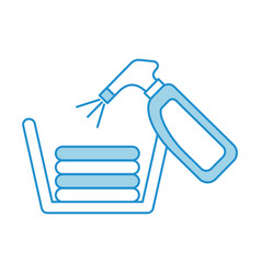 laundry basket with detergent bottle vector image
