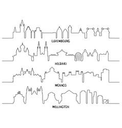 line art luxembourg helsinki monaco wellington vector image