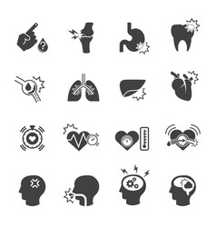 medical icon set pain and symptom vector image