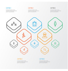 Person outline icons set collection of climbing vector