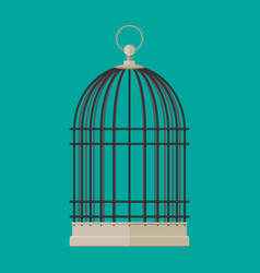 Pet bird cylindrical metal cage vector