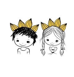 Prince and princess with crown on head for your vector